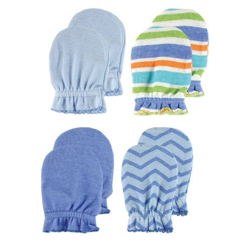 4-Pack Scratch Mittens, Blue Patterns