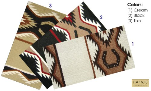 Tahoe Tack Lucky Horseshoe New Zealand Wool Western Horse Saddle Blankets 34 x 36 Tan
