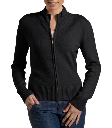 Wool Overs Womens Lambswool Shaped Zip Cardigan Black Small