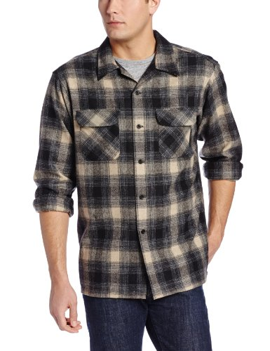 Pendleton Men's Classic Board Shirt, Black/Charcoal/Tan Plaid, Large