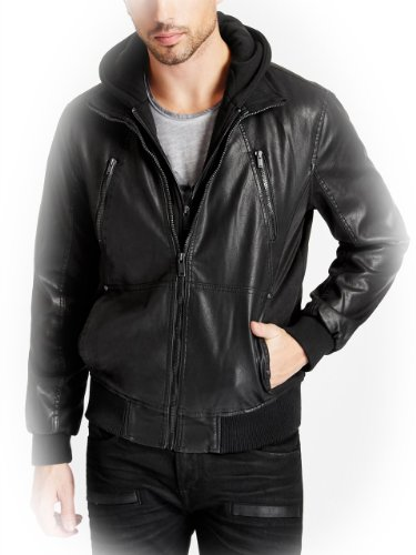 GUESS Men's Faux-Leather Hooded Moto Jacket, JET BLACK (MEDIUM)
