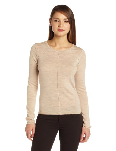 Colour Works Women's 100% Merino Wool Jewel Neck Seam Out Sweater, Heather Oatmeal, Medium