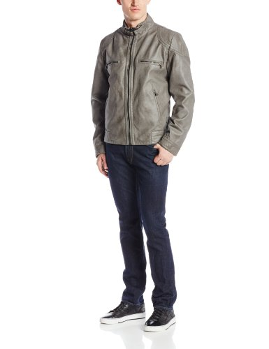 Calvin Klein Men's Faux Leather Moto Jacket, Grey, Small