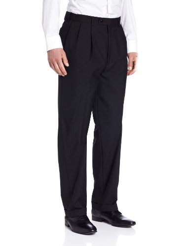Louis Raphael LUXE Men's 100% Wool Pleated Hidden Extension Dress Pant, Black, 32×34