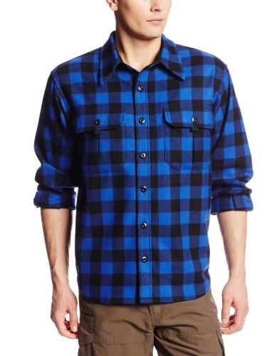 Minus33 Merino Wool White Mountain Sportsman Work Shirt, Blue Plaid, Large