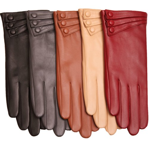 WARMEN Elegant Women Genuine Nappa Leather Winter Warm Soft Lined Gloves (L, Black)