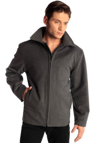 Mens 28″ Open Bottom Zipper Jacket Wool Blend Coat By Alpine Swiss Bomber Jeans