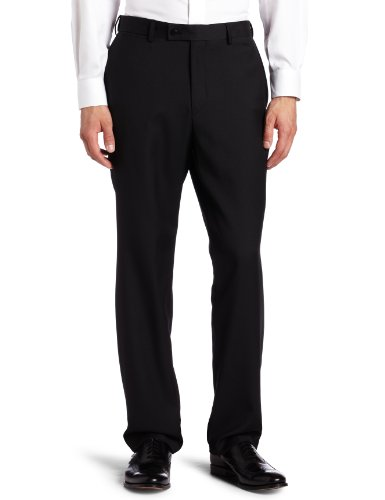 Louis Raphael ROSSO Men's Washable Wool Blend Flat Front Dress Pant, Black42x30