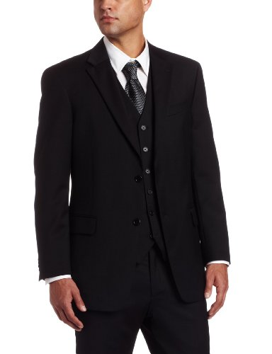 Tommy Hilfiger Mens 2 Button Side Vent Trim Fit 100% Wool Suit Separate Coat,  Black Solid, 38 R