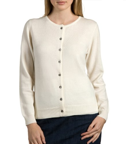 Wool Overs Women's Cashmere & Merino Timeless Crew Cardigan Cream (Winter White) Medium