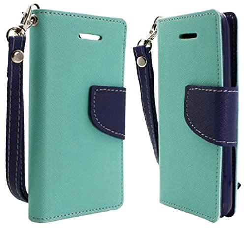 "myLife (TM) Teal Blue and Navy Blue {Classy and Colorful Design} Faux Leather (Card, Cash and ID Holder + Magnetic Closing) Slim Wallet for the iPhone 5C Smartphone by Apple (External Textured Synthetic Leather with Magnetic Clip + Internal Secure Snap In Hard Rubberized Bumper Holder + Lifetime Warranty) ""MORE INFO: This lightweight iPhone 5C wallet is made of durable and high quality synthetic leather and is designed to fit the iPhone 5C only. The leather itself is textured to prevent the wallet from slipping out of your hand while being handled. This wallet comes with a magnetic clasp."""