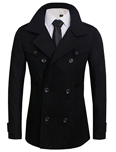 Tom's Ware Mens Stylish Fashion Classic Wool Double Breasted Pea Coat TWCC06-BLACK-US L
