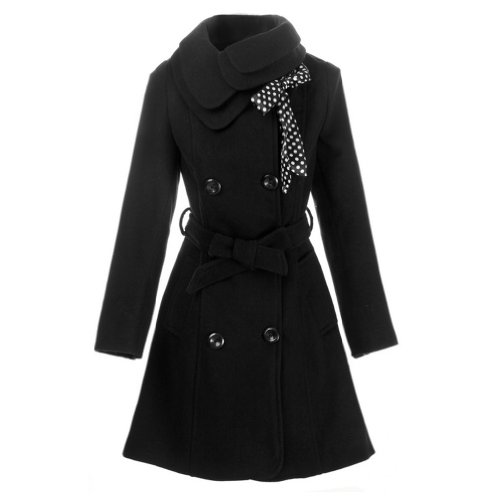 Hee Grand Women Wool Blends Coat Slim Trench Winter Coat Chinese M Black