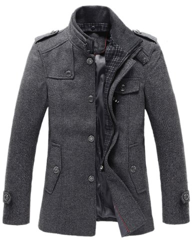 Match Mens Wool Winter Coat Slim Fit Pea Coat(Label size XX-Large(US Large),Dark gray-Thin)