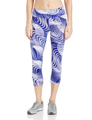 Calvin Klein Performance Women's Twist and Turn Print Capri, Hudson Combo, Large