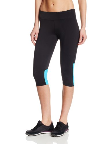 Calvin Klein Performance Women's Over The Knee Capri with Color Mesh, Black/Aqua, Medium
