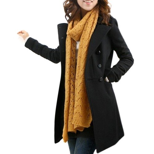 Hee Grand Women Dounle-Breasted Woollen Overcoat Black M
