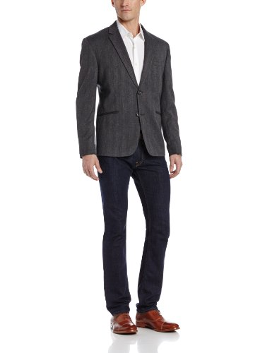 Arrow Men's Bone Tweed Jacket, Black, Large