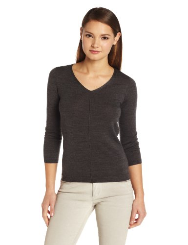 Colour Works Women's 100% Merino Wool 3/4 Sleeve V-Neck Seam Out Sweater, Charcoal Heather, Large