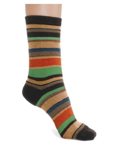 Cashmere Blend Striped Socks Crew 7 Colors Available Womens Soft and Warm Color:: Espresso