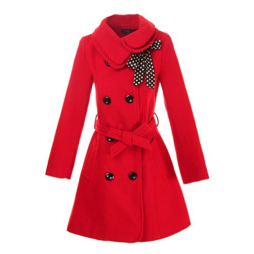 Hee Grand Women Wool Blends Coat Slim Trench Winter Coat Chinese XL Red