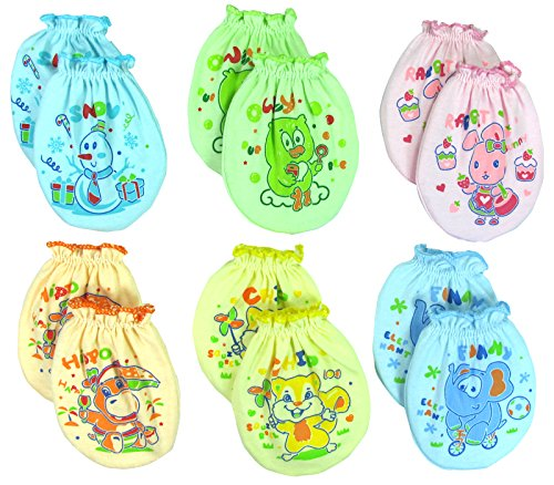 6 Pairs Mix color Scratch Mittens Gloves Cotton Baby Newborn