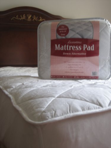 Fitted – Luxurious Down Alternative Mattress Pad – 100% Cotton , 300 Thread Count – Queen Size (60×80″)