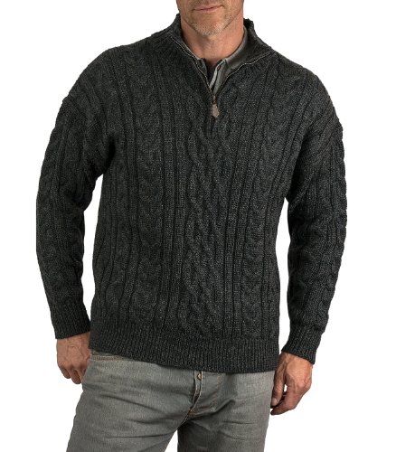 Wool Overs Mens British Wool Aran Cable Zip Neck Sweater Charcoal Large