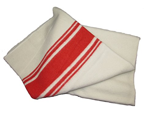Dutch Navy 100% Wool Blanket with Red Stripe