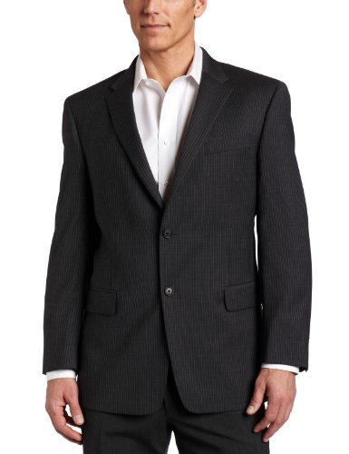 Tommy Hilfiger Mens 2 Button Side Vent Trim Fit 100% Wool Suit Separate Coat,  Grey Slim Stripe, 44 Long