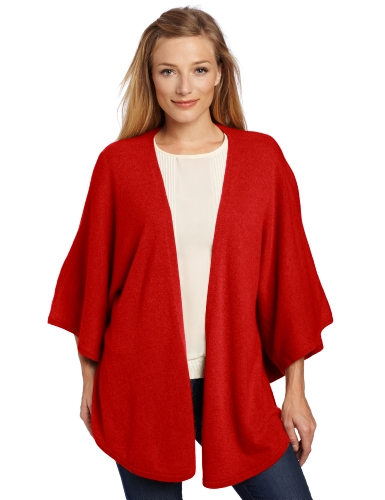 Sofie Women's 100% Cashmere Butterfly Cape Sweater, Ruby, Small