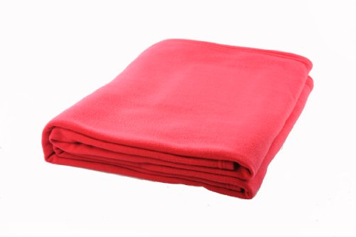 DozzZ Warm Soft Light Weight Resists Pilling Coral Fleece Blanket For Autumn, Light Red