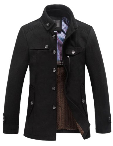 Match Mens Wool Winter Coat Fleece Lined Pea Coat(Label size X-Large(US Medium),Black)