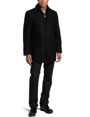 Perry Ellis Men's Button Front Jacket With Bib Insert, Black, X-Large