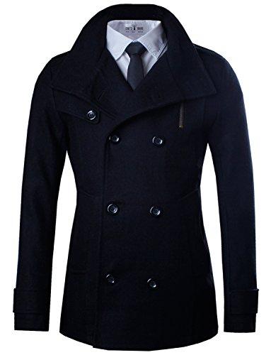 Tom's Ware Mens Stylish Fashion Classic Wool Double Breasted Pea Coat TWCC06-08-BLACK-US M