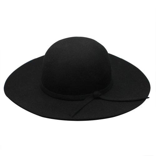 Fashion Vintage Black Lady Wide Brim Wool Felt Bowler Fedora Hat Floppy Cloche