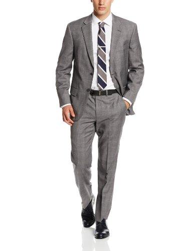Nautica Men's Plaid 2 Button Center Vent Suit with Flat Front Pant, Grey, 42 Regular