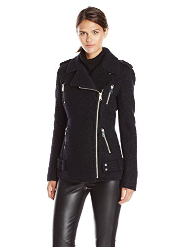 French Connection Women's Wool Boucle Moto Jacket, Black, 6