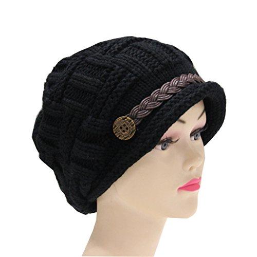 Ibeauty(TM) Black Women Lady Beanie Crochet Hat,fashion Women's Winter Warm Knit Wool Beanie Hat, Crochet Cap