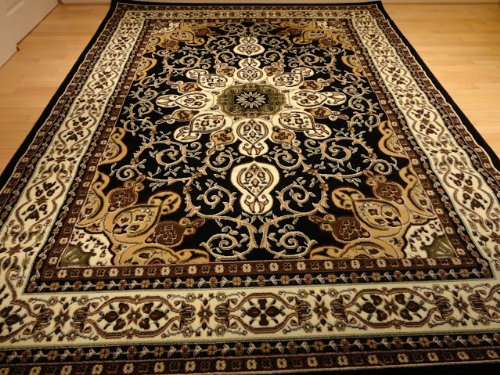 Large 8×11 Persian Style Rug Oriental Rugs Black Area Rug 8×10 Persian Carpet 8×11 Rugs Living Room Size Traditional Rugs