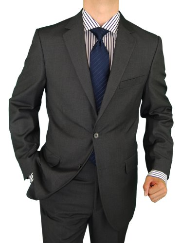 Salvatore Exte Mens Suit Wool Feel 2 Button Jacket Flat Front Pants Charcoal Gray (36 Short)