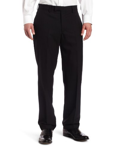 Louis Raphael LUXE 100% Wool Solid Modern Fit Flat Front Dress Pant, Black, 34×32