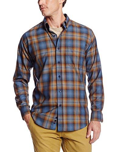 Pendleton Men's Fitted Sir Shirt, Blue/Bronze Plaid, Medium