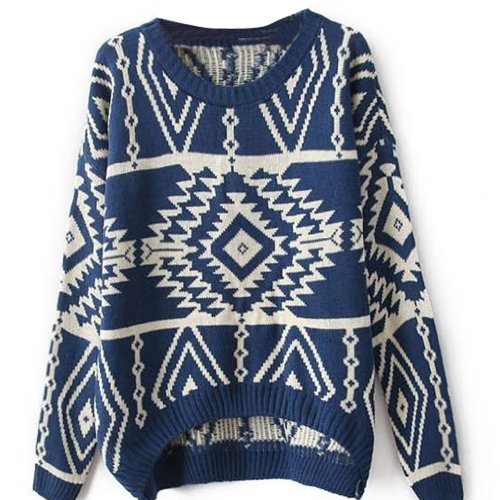 Vobaga Women's Long Sleeve Geometric Pullovers Sweater Blue