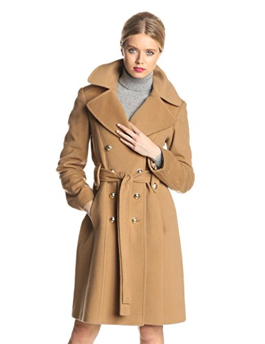 Anne Klein Women's Double Breasted Cashmere Wool Coat, Camel, 6