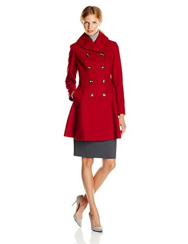 Via Spiga Women's Double Breasted Wool Skating Coat, Red, 4