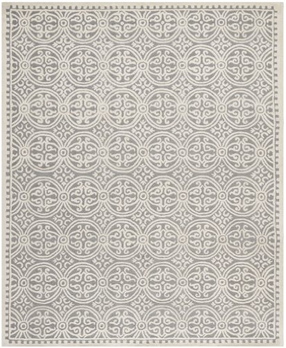 Safavieh CAM123D Cambridge Collection Handmade Wool Area Rug, 5 by 8-Feet, Silver/Ivory