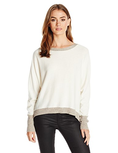 Michael Stars Women's Cashmere Blend Long Sleeve Hi Low Boatneck Sweater, Ivory/Pebble, X-Small/Small