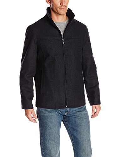 Perry Ellis Men's Melton Wool Jacket, Charcoal, Medium