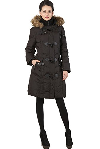 BGSD Women's Quilted Down Toggle Coat with Faux Fur Trim – Black M